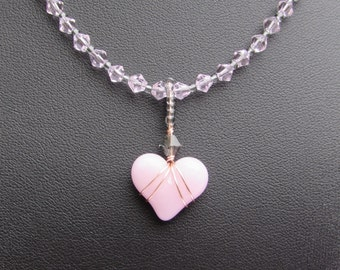 Lampworked Pink Heart Necklace with Pink Crystals