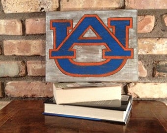 "Auburn War Eagles Hand Engraved Wall Decor, Auburn ""Man Cave"" Decor"