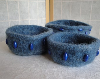 blue felt trinket bowls, beaded felt bowls, nesting felt bowls(three), house-warming gift, decorative storage, trinket bowls, new home gift