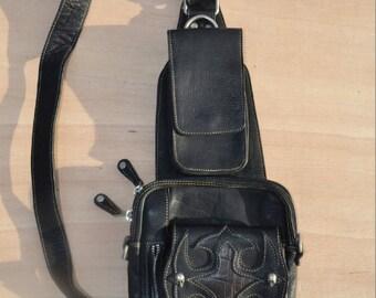 leather shoulder travel bag