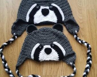 Crochet hat, Racoon hat, Handmade hat, Baby hat, Kids hat, Adults hat, Crochet racoon hat, alpaca wool