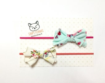 Baby set of two bows headbands hot pink and yellow