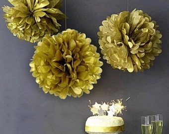 5  Pieces Gold Tissue Paper Flower Pom Poms Wedding Birthday Anniversary Party Hanging Decoration