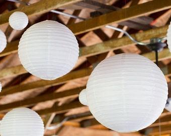 White Hanging Paper Ball Lantern Lampshade Wedding Birthday Christmas Party Decoration
