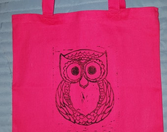 Owl Linoleum Tote Bag Canvas
