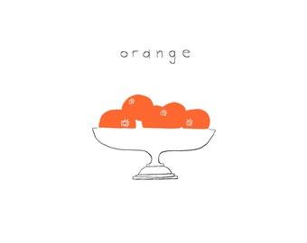 oranges digital print, the color orange, kitchen art, downloadable JPEG, bowl of oranges