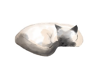 sleeping siamese, siamese cat digital print, cat art, JPEG