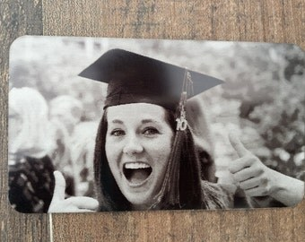 Engraved Picture Wallet Card, Front & Back Engraving, Photo Personalized Card, Graduation Gift, Laser Engraved, Handwritten Wallet Insert