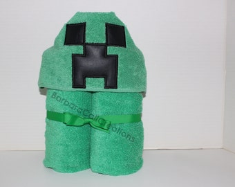 Hooded Bath Towel - 8-Bit Monster