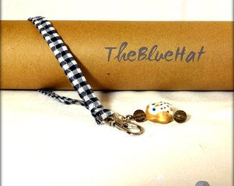 Wristlet Key Chain Blue Gingham with Owl Charm