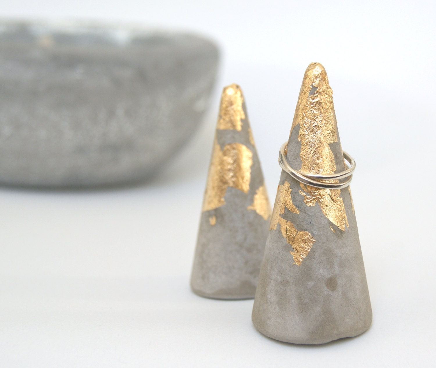 Average Nightstand Height Handmade Concrete And Gold Leaf Ring Cone Cement Ring Cone