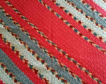 Country Stripes - Diagonal Stripe Chrochet Afghan