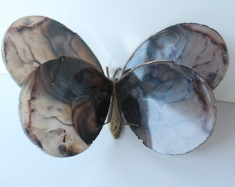 Vintage Brass And Agate Butterfly By Hugo F.