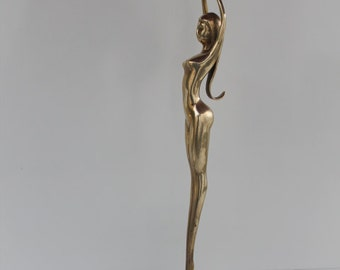 Vintage Solid Brass Black Base Dacing  Ballerina  Girl Statue.