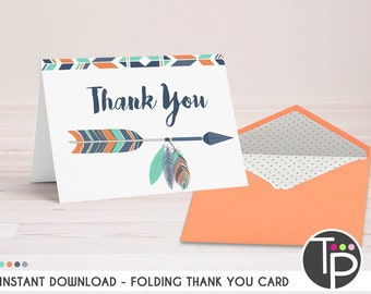 TRIBAL THANK YOU Card, Tribal Feather Thank you Card, Baby Shower Thank you, Tribal Arrow Thank you Card, Instant download, 0100
