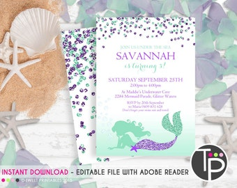 MERMAID INVITATION, Instant download MERMAID Invitations, Mermaid Party Invitation, Mermaid Party, Editable template, Purple Mermaid