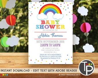 Wonderful RAINBOW Baby Shower Invitation, Instant Download RAINBOW Baby Shower  Invitations, Rainbow Baby Shower,