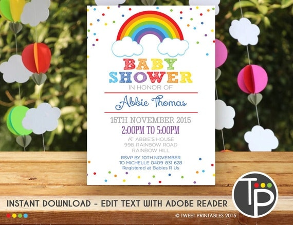 rainbow baby shower invitation instant download rainbow baby shower
