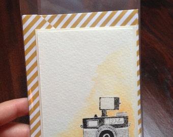 Retro Hand-Stamped Camera Card