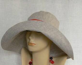 Linen hat, summer hat, Women's hat, Oeko Tex, Beach Set, Wide-brimmed Hat, Beige linen hat, Beige Hat, Women's wide-brimmed hat
