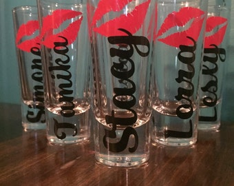Bachelorette Party, Bachelorette Shot Glass, Bridesmaid Gifts, Hot Pink wedding, Bridal Party Gifts, Personalized Bridesmaid Gifts- Lips