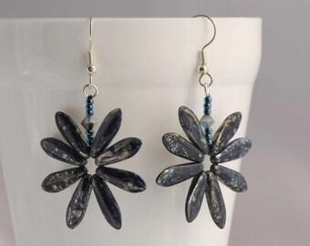 Night Sky Earrings, Galaxy Earrings, Space Jewelry, Starry Night Jewellery, Dark Blue Earrings, Constellation Earrings, Czech Glass Jewelry,