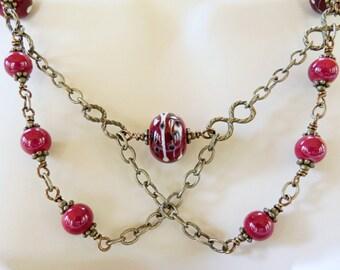 Festoon Necklace, Red Lampwork Necklace, Red Lampwork Jewelry, Criss Cross Necklace, OOAK