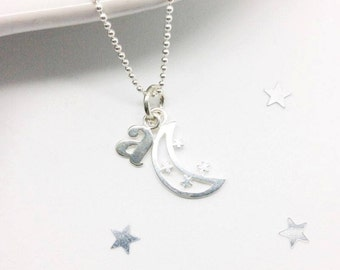 silver moon necklace, silver moon pendant, love you to the moon and back, lunar necklace, personalised necklace
