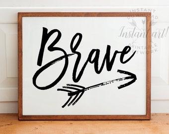 Brave with arrow PRINTABLE,blue nursery printable,nursery wall art,baby room decor,baby wall art,arrow artwork,digital print,instant art