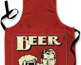 Retro Beer Design Apron Kitchen bbq Cooking Painting Made In Yorkshire