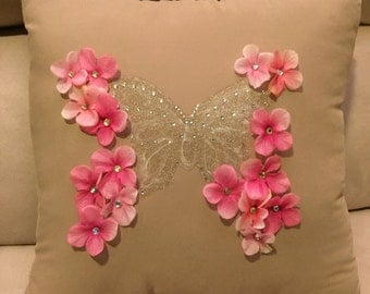Butterfly and Pink flowers pillow