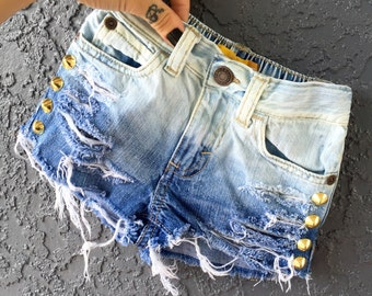 NEROS baby toddler girl ombre fade gold studded deconstructed destroyed denim jean shorts