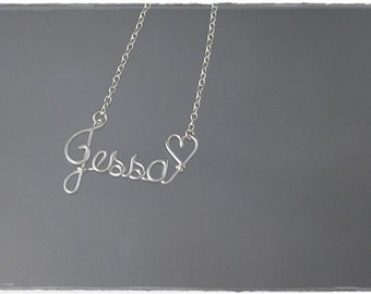 Jessa Wire Word Name Pendant Necklace