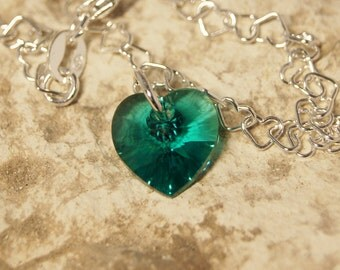 Swarovski Heart Shape Birthstone Bracelet - Blue Zircon - December
