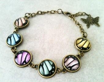 Butterfly bracelet, butterfly wings bracelet, adjustable bracelet, butterfly jewelry, pastel color, mother's day, gift idea, spring