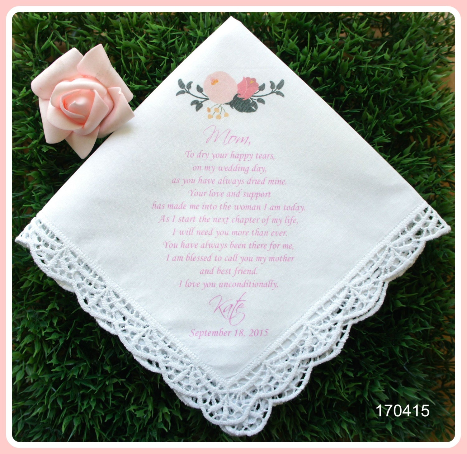 Wedding Gift For Bride From Mother: Mother Of The Bride Gifts-Wedding Handkerchief-PRINTED