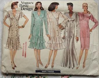 Vintage 1980s Vogue dress pattern, Vogue Basic Design 1940, size 8-10-12, 1987