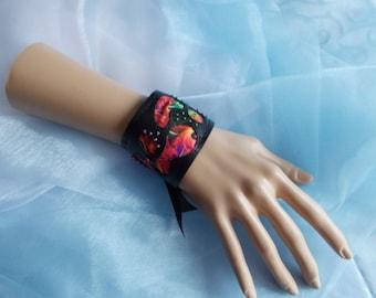 Cuff Bracelet, Fabric Cuff, Psychedelic Fabric Cuff, Boho, Beach, Multi-Coloured, Black, Beaded