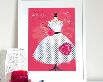 Mid century 50s spotted dress print, with girlfriend stays in my heart quote, girlfriend gift, girlfriend present, girlfriend saying, dress