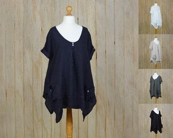 Lagenlook Plus Size UK 16 18 20 22 24 26  Tunic Top Style Italian Loose Heavy Linen Quirky Black Beige White Navy Blue New l xl xxl 8942