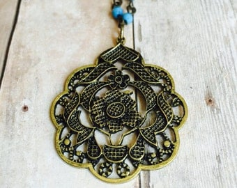 Boho style necklace- wired necklace