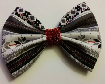 Holiday print fabric bow