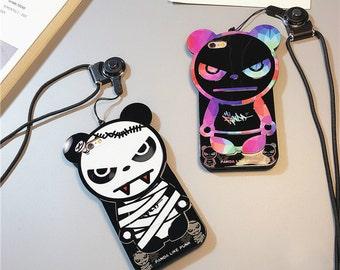 G-Dragon Panda Bigbang iPhone 7 Case Cute, iPhone 7 Plus Cute Case, iphone 6 ,6 plus, 6s case Rubber Plastic with neck strap