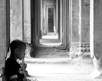 Angkor Wat, Siem Reap, Cambodia, Travel Photography, Temple, Fine Art, Photojournalism, black and white, Home Decor, Architecture, Portraits