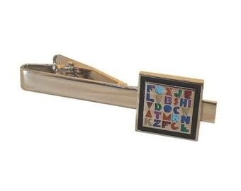 ON SALE Alphabet tie bar clasp Teacher letters