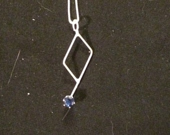 Sterling Silver with Cobalt Blue Ice Doodle Pendant #2, freeform pendant, hand made 18 gauge Sterling Silver wire.