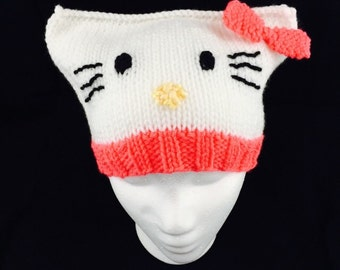 Hello Kitty inspired hat; baby, child, and adult sizes