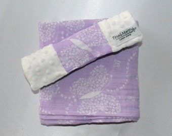 My butterfly Baby set, Double gauze/Minky, Baby blankets.