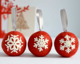 Felted snowflake applique Christmas ball ornaments - set of three handmade Scandinavian style red wool tree baubles decorations