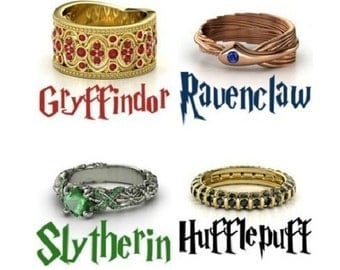 Slytherin/Gryffindor/Ravenclaw & Hufflepuff Harry Potter House Rings!